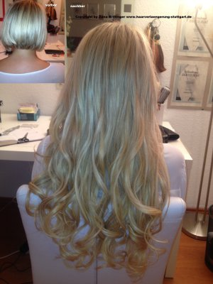 Haarverlängerung bei bob Haarschnitt