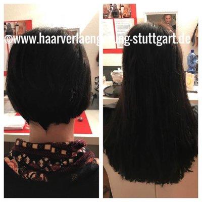 eigene Haare kurz- mit Echthaarextensions verlängert